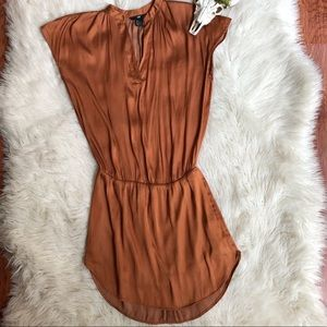 H&M Copper Bronze Silky Drop Waist Dress